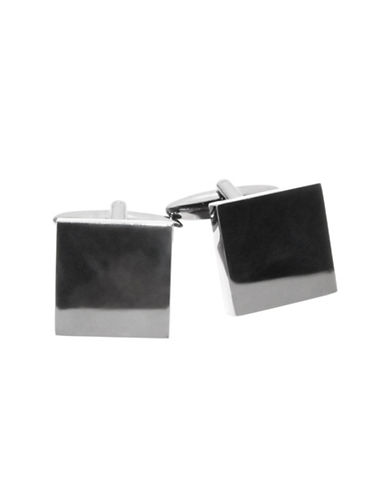 Black Brown 1826 3D Square Brass Cufflinks-GUNMETAL-One Size