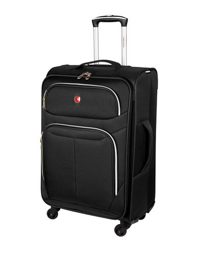 Swiss Gear Light Flyer 24-Inch Expandable Upright 360 Degree Spinner Suitcase-BLACK-24