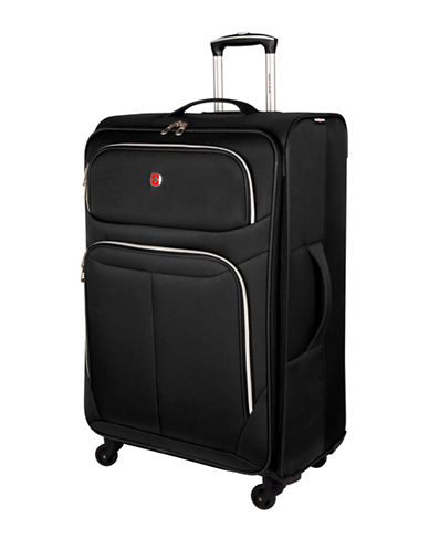 Swiss Gear Light Flyer 28-Inch Expandable Upright 360 Degree Spinner Suitcase-BLACK-28