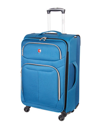 Swiss Gear Light Flyer 24-Inch Expandable Upright 360 Degree Spinner Suitcase-BLUE-24
