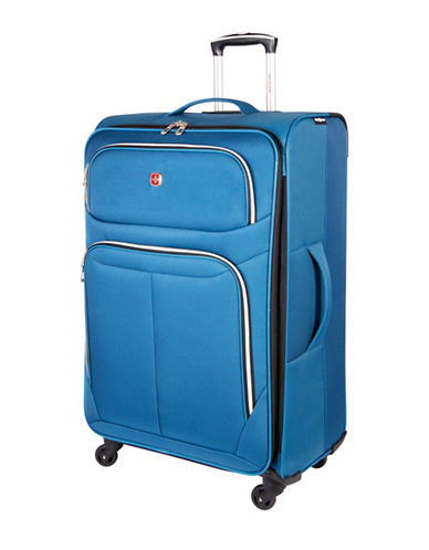 Swiss Gear Light Flyer 28-Inch Expandable Upright 360 Degree Spinner Suitcase-BLUE-28