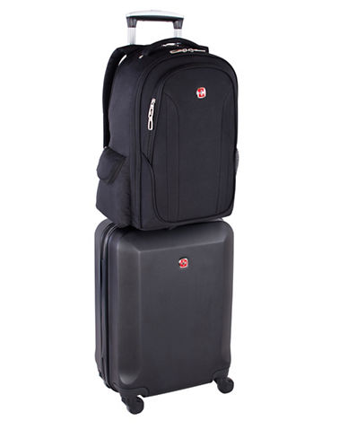 Swiss Gear Career 2-Piece Hardside 19-Inch Spinner Carry-on and 15.6-Inch Backpack Set-BLACK-2 Piece