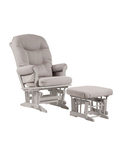 Dutailier Sleigh Glider Multiposition Recline and Ottoman-LIGHT GREY/WHITE-One Size