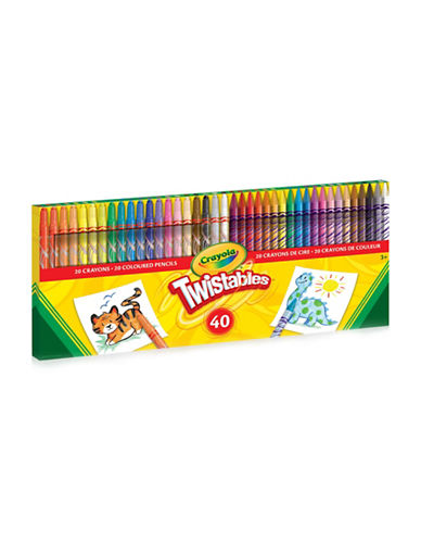 Crayola 40CT Twistables Crayons and Coloured Pencil Combo-MULTI-COLOURED-One Size