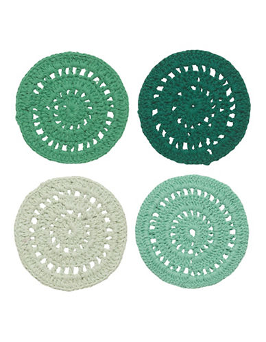 Danica Set of Four Hemlock Crocheted Coasters-GREEN-One Size