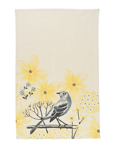 Now Designs Mockingbird-Print Tea Towel-YELLOW-One Size