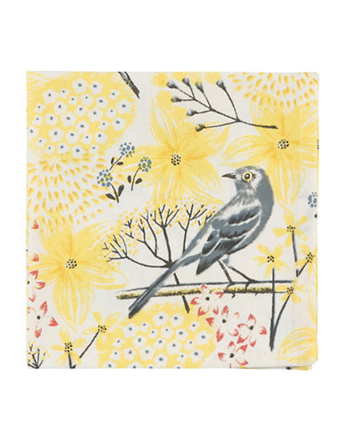 Now Designs Mockingbird-Print Four-Pack Napkins-YELLOW-One Size