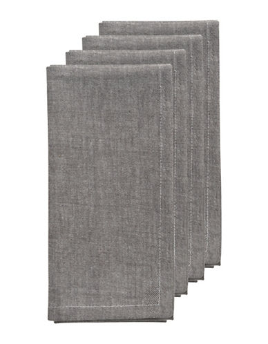 Now Designs Four-Piece Chambray Textured Napkins-PEWTER-One Size