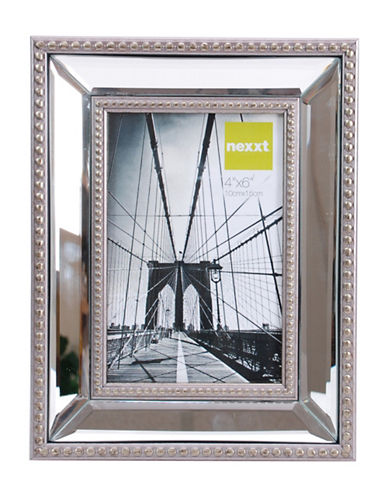 Home Outfitters 4-Inch x 6-Inch Sutton Mirrored Frame with Beading-SILVER-One Size