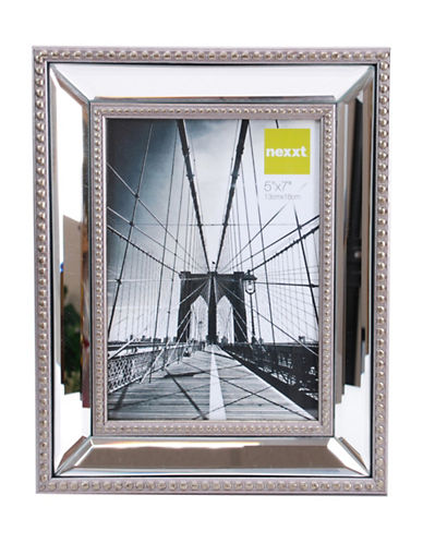 Home Outfitters 5-Inch x 7-Inch Sutton Mirrored Frame with Beading-SILVER-One Size