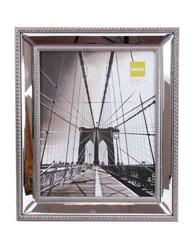 Home Outfitters 8-Inch x 10-Inch Sutton Mirrored Frame with Beading-SILVER-One Size