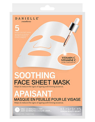 Upper Canada Soap And Candle Co Five-Pack Brightening Sheet Mask-WHITE-One Size