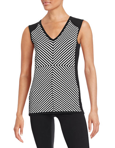 Edit By Jeanne Beker Sleeveless Striped Sweater-BLACK-Small