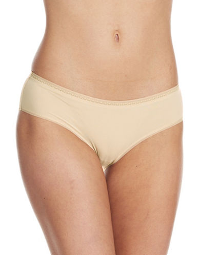 Lord & Taylor Mircofiber Hipster with Lace and Organza Trim-NUDE-Large