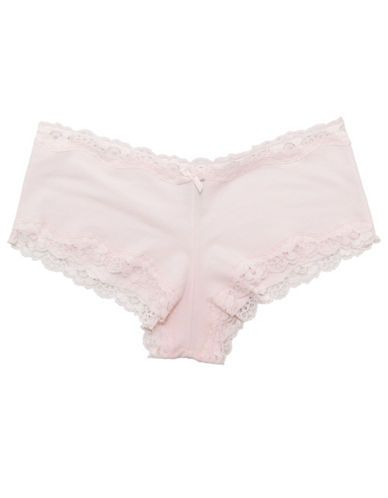 Lord & Taylor Scallop Lace Trim Hipster-PINK-X-Large