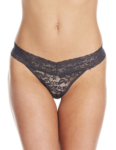 Lord & Taylor Stretch Lace V-Thong-GREY-X-Large