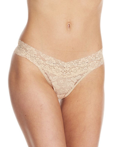 Lord & Taylor Stretch Lace V-Thong-NUDE-Medium
