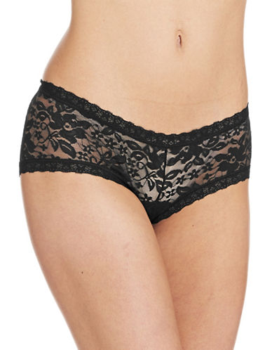 Lord & Taylor Stretch Lace Hipster Briefs-BLACK-Small