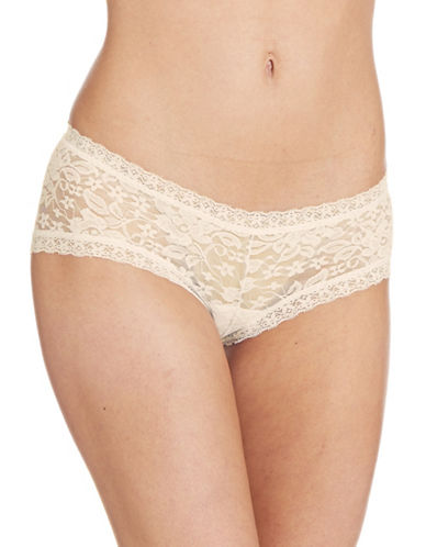 Lord & Taylor Stretch Lace Hipster-NUDE-Large