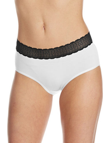 Lord & Taylor Modal Brief Stretch Lace Waistband-WHITE-X-Large