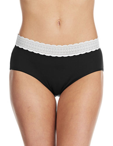 Lord & Taylor Modal Brief Stretch Lace Waistband-BLACK-Small