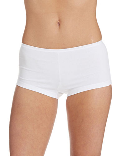 Lord & Taylor Stretch Cotton Boyshorts-WHITE-Medium