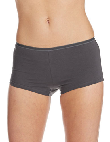 Lord & Taylor Boyshort With Pearl Edge Elastic-GREY-Large