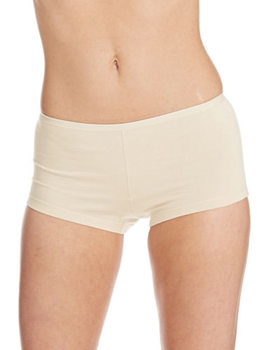 Lord & Taylor Boyshort With Pearl Edge Elastic-NUDE-Small