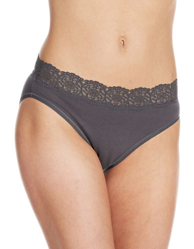 Lord & Taylor Hi-Cut Brief With Lace Trim-GREY-Small