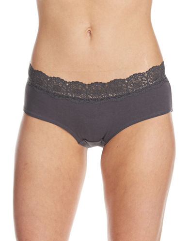 Lord & Taylor Hipster With Lace Trim-GREY-Small