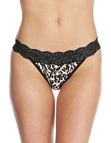 Lord & Taylor Cotton Spandex Thong with Lace Trim-BLACK-Small