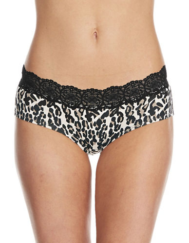 Lord & Taylor Cotton Spandex Hipster with Lace Trim-BLACK-Medium