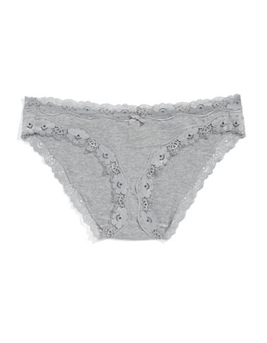 Lord & Taylor Lace Trim Bikini Panty-GREY-Large