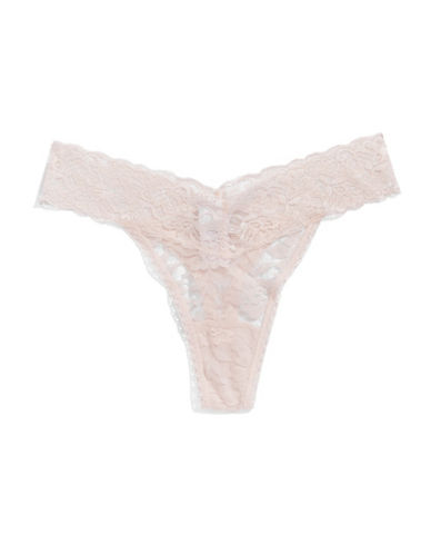 Lord & Taylor Stretch Lace Thong-PINK-Large