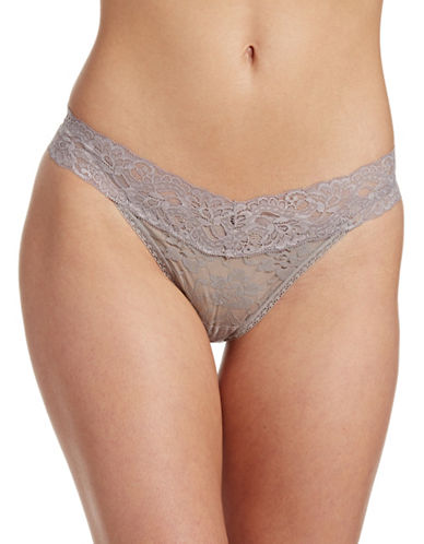 Lord & Taylor Stretch Lace Thong-TAUPE-Medium