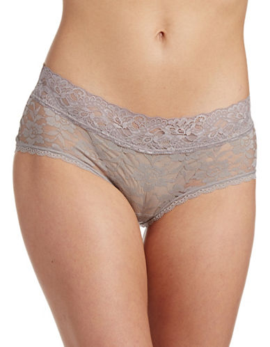 Lord & Taylor Stretch Lace Hipster Briefs-TAUPE-Large