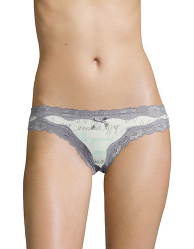 Lord & Taylor Printed Lace Trim Cotton Briefs-HELLO GORGEOUS TEAL-X-Large