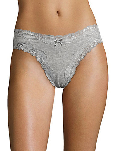 Lord & Taylor Cheeky Lace Panties-HEATHER GREY-Large
