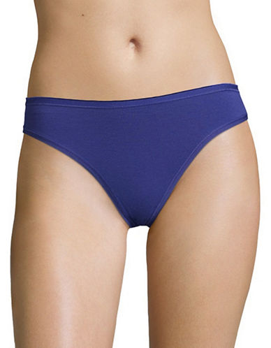 Lord & Taylor Stretch Cotton Thong-BLUE-Medium