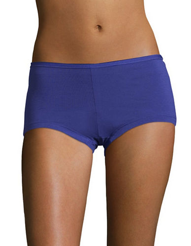 Lord & Taylor Stretch Cotton Boyshorts-ROYAL BLUE-X-Large