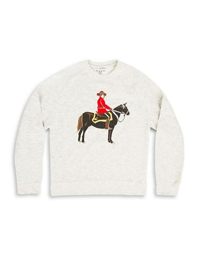 Drake General Store Arborist Mountie Horsemane Cotton Sweatshirt-BEIGE-Small