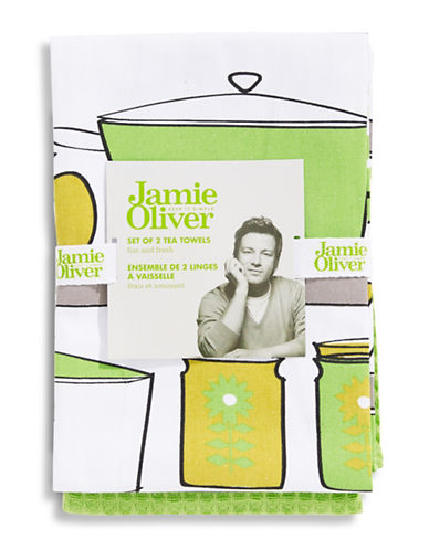 Jamie Oliver 2 Piece Tea Towel Set-GREEN-18x28