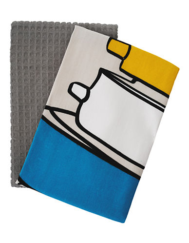 Jamie Oliver Set of 2 Tea Towels-GREY-18x28