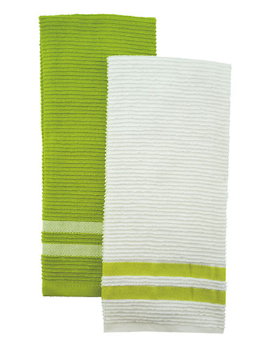 Jamie Oliver Set of 2 Terry Ribbed Towels-GREEN-One Size