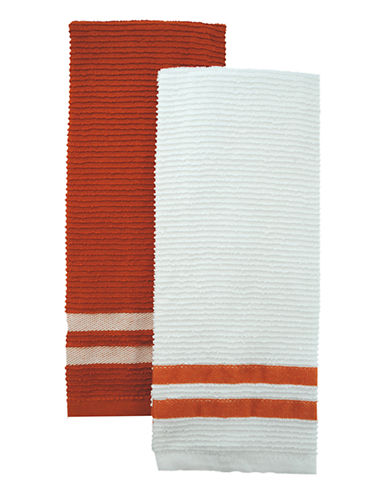 Jamie Oliver Set of 2 Terry Ribbed Towels-ORANGE-One Size