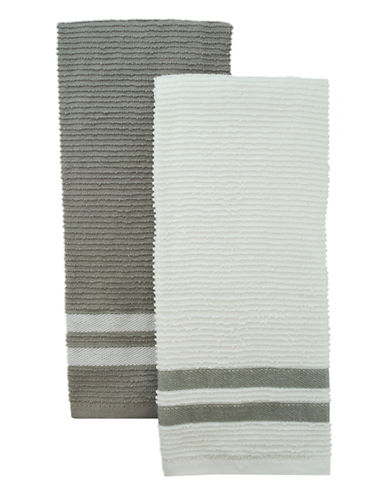 Jamie Oliver Set of 2 Terry Ribbed Towels-GREY-One Size