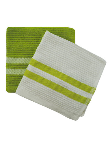 Jamie Oliver Set of 2 Terry Ribbed Dish Cloths-GREEN-13 x 13 Inches