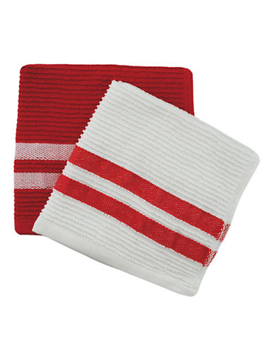 Jamie Oliver Set of 2 Terry Ribbed Dish Cloths-BERRY-13 x 13 Inches