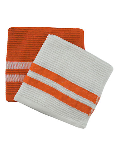 Jamie Oliver Set of 2 Terry Ribbed Dish Cloths-ORANGE-13 x 13 Inches