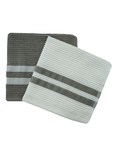 Jamie Oliver Set of 2 Terry Ribbed Dish Cloths-GREY-13 x 13 Inches